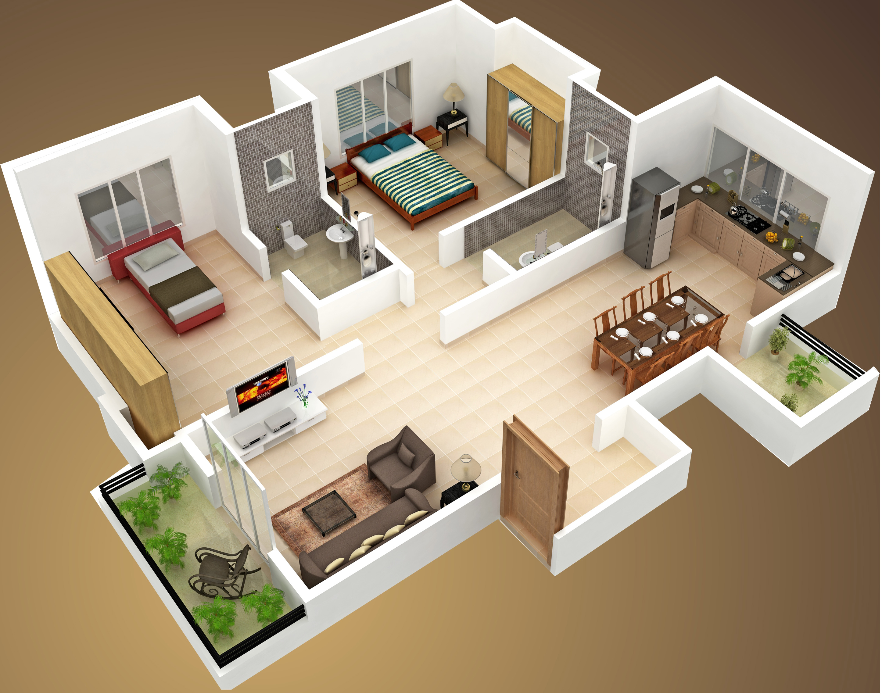 House plan with 3d view 28 images 2 bedroom house for Home plans with a view