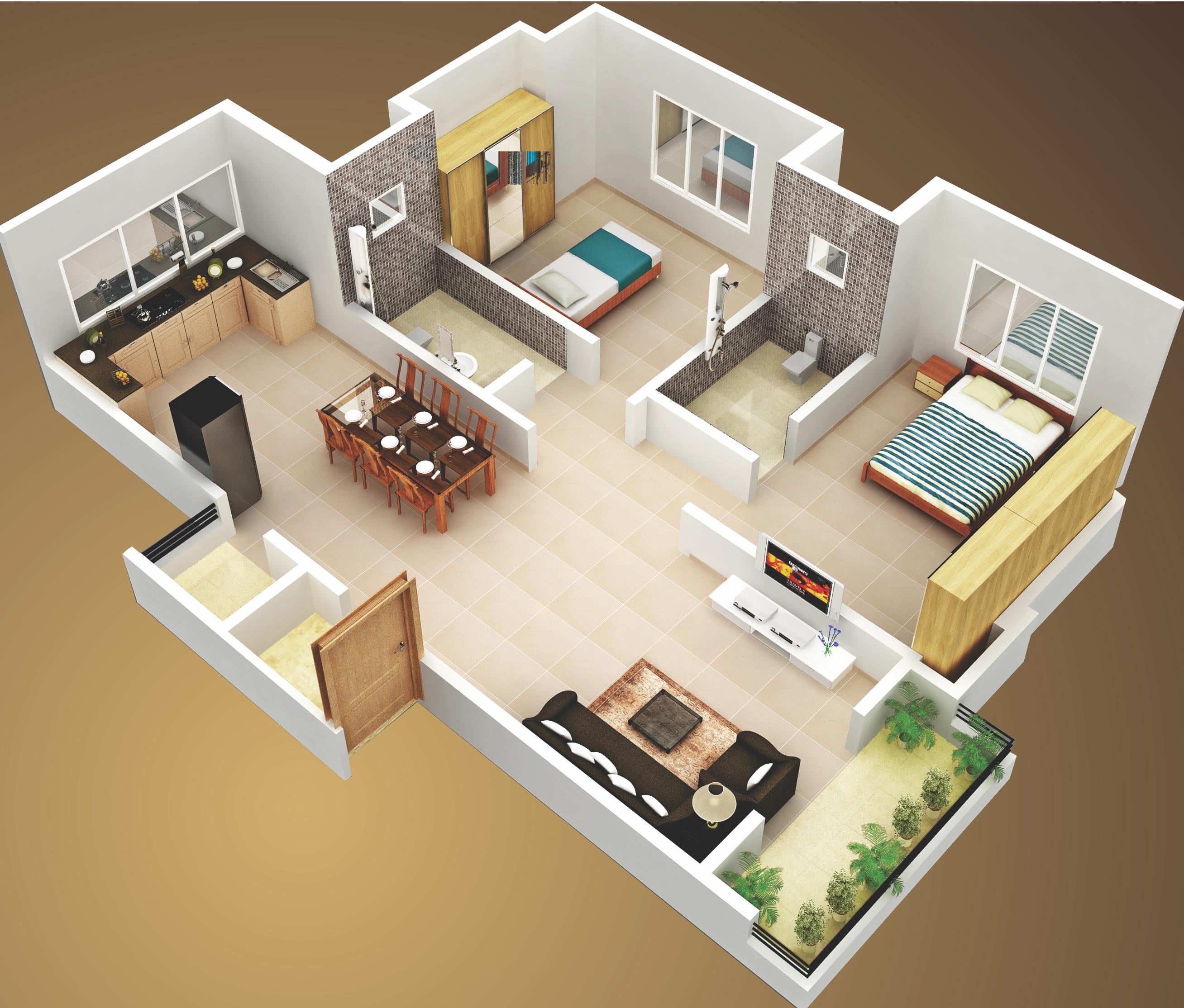 25 More 3 Bedroom 3D Floor Plans  Interior Design Ideas